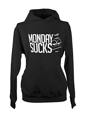 Monday Sucks Work Job Tired Lazy Amusant Femme Capuche Sweatshirt Noir