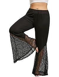 Pantalones de encaje mujer, QinMM talla grande Pantalones de campana cintura elástica (Negro,
