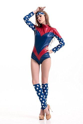 DLucc Adult Halloween-Kostüm Weiblich Avengers Captain America Spiderman -Anzug Cosplay Frauen-Kriegers , #1