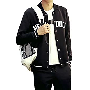 TaLs9yLI Coat Jacket for Men Men Casual Letter Print Striped Baseball Jacket Snap Buttons Long Sleeve Coat - Black M