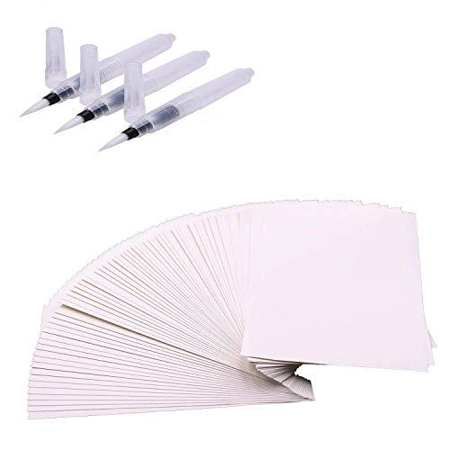 Aquarellpapier Weiß A5 60 Blätter Künstlerpapier 100% Baumwolle Cold Press kaltgepresst Zeichenpapier und Pinsel Stifte 3 Stück - Baumwolle Blatt