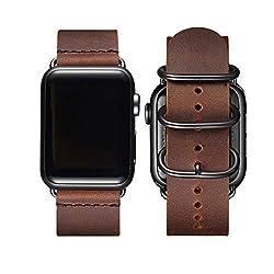 BesBand Retro Lederbänder Kompatibel mit Apple Watch Armband 42mm 44mm 38mm 40mm,Echtes Leder Vintage Armbänder Kompatibel für Männer Frauen iWatch Series5 Series4/3/2/1 (42mm 44mm, Braun/Schwarz)