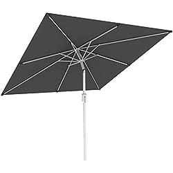 paramondo Interpara Parasol| Parasol pour Jardin et Balcon| 3 x 3m (carré/Gris) / Armature (Argent)