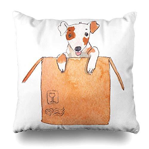 Vvians decorativepillows case throw pillows covers for couch/bed 18 x 18 inches,cute cartoon dog sitting big cardboard packing box painted watercolor home sofa cushion cover pillowcase gift