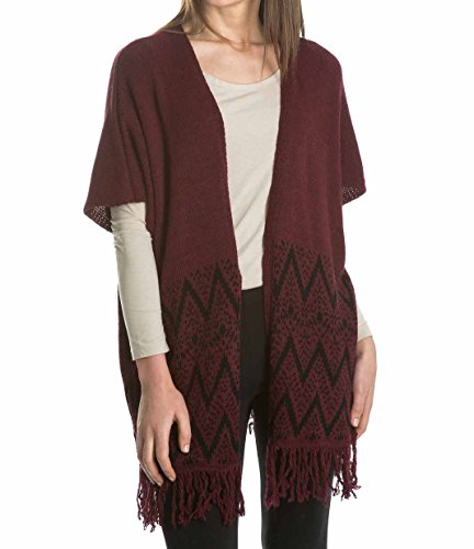 Laura Moretti - Cardigan/Blouson/Veste oversize tricoté, manches courtes, sans boutons, franges et imprimé ethnique géométrique au fond, Kimono style Bordeaux