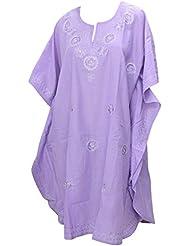 La Leela dames 5 en 1 léger smoth rayonne Tunique brodée soirée décontractée robe bikini kimono maillots de bain couvrir loungewear beachwear plus courte caftan de nuit occasionnel violet