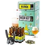 Kit de Brassage Débutant Complet, Je Brasse et j'embouteille 4 litres de bière - Idée Cadeau 100% découverte - (Bière Blonde)