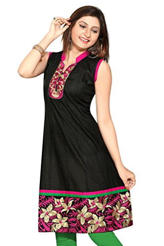 SATRAT's Women Girls Semi Formal Party Wear Long Knee Length Black Chanderi...