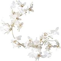 KUNQ-Sen Novia Flor Blanca Cristal Perla Banda De Pelo Tocado Garland  Cabeza De La 31a781a23e3d