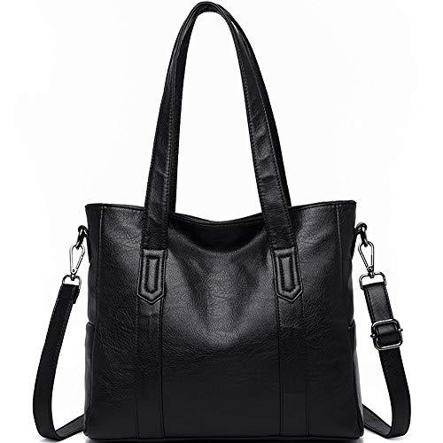 Preisvergleich Produktbild MLpus 2019 Handtasche hochwertigem Leder große umhängetasche Damen umhängetasche (Farbe : SCHWARZ)