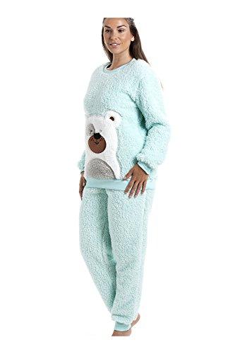 Camille - Pyjama-Set mit Teddybär-Motiv - weich & kuschelig - Mintgrün Grun