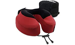 Cabeau Evolution S3 Travel Pillow – Straps to Airplane Seat – Ensures Your Head Won't Fall Forward – Relax with Plush Memory Foam – Quick-Dry Fabric Keeps You Cool and Dry (Cardinal)…