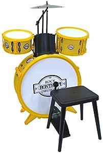 Bontempi Rock Drum Set - Juguetes Musicales (Instrumento Musical de Juguete, Batería, 3 año(s), Niño/niña, Blanco, Amarillo, Italia)