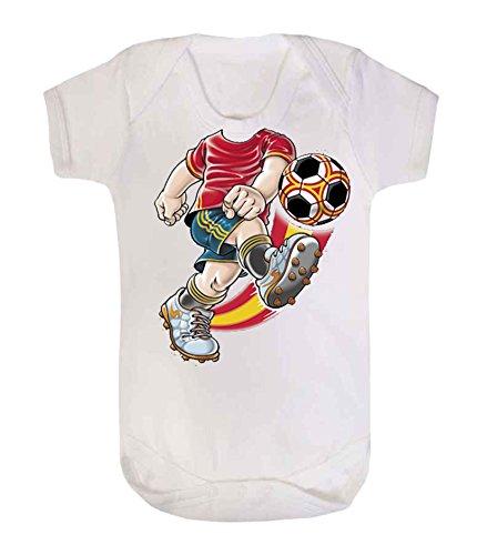 Fútbol body bebé chaleco Babygrow Body de diseño de bebé chalecos de fútbol España español ventilador de fútbol blanco blanco Talla:3-6 meses