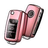 Autoschlüssel Hülle VW,VW Golf Schlüsselbox,Schlüsselhülle Cover für vw Polo Passat Skoda Seat 3-Tasten(Roségold)[Verpackung:MEHRWEG]