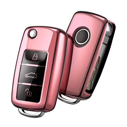 Autoschlüssel Hülle VW,VW Golf Schlüsselbox,Schlüsselhülle Cover für vw Polo Passat Skoda Seat 3-Tasten(Roségold)[Verpackung:MEHRWEG] (Seat Cover Auto)