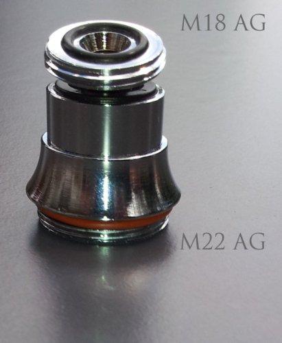 Kugelgelenk M18 AG x M22 AG, chrom, Übergang von M18 Feingewinde zu M22 Aussengewinde zum Anbringen eines größeren, günstigern Perlstrahlers oder eines Übertischfilter, Aquadea Wasserwirblers