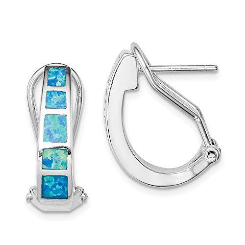Kreolen Sterling-Silber 925 blauer Einlage Opal Quadrate
