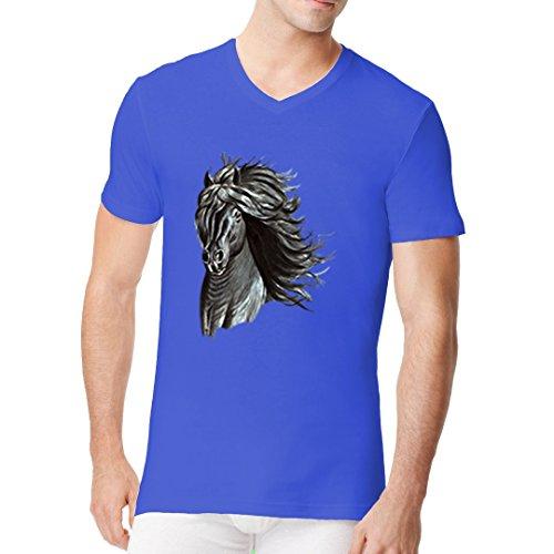 Fun Männer V-Neck Shirt - Pferd: Friese by Im-Shirt Royal