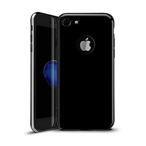 iPhone 7 hülle, Mture Plating TPU Silikon Tasten Schutzhülle Bumper Flexibel Stoßfest Durchsichtig Handyhülle Schutzhülle für iPhone 7 - Jet Schwarz Jet Schwarz