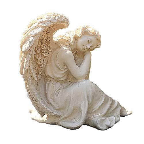 zenggp Schlafen Grace Sitting Angel Figure Sculpted Statue Mittlere Gartendekoration