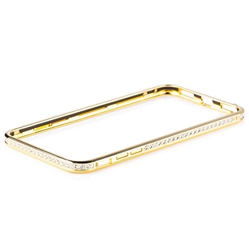 iCues Schutzhülle kompatibel mit Apple iPhone 6/6S + PLUS (5.5 Zoll) | Alu Strass Bumper Gold | [Display Schutzfolie Inklusive] Strass Glitzer Glitter Luxus Bling Damen Frauen Mädchen Chrome CNC Aluminium Metall Metallic Hülle Cover Schutz (Chrome-iphone-kopfhörer)