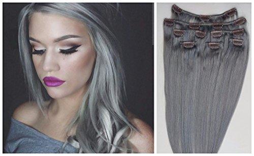 Becret® 40,6 - 50,8 cm Clips dans Remy Extensions de cheveux humains droite 8 pièces/un Lot Couleur Gris