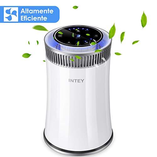 INTEY Purificador de Aire Eficiente,Filtro HEPA-99.97% Efectos de Filtración, Desinfección UV, Formaldehído del Filtro, Humo Neutralizante, Resistencia a los Alérgenos para Oficina y Hogar