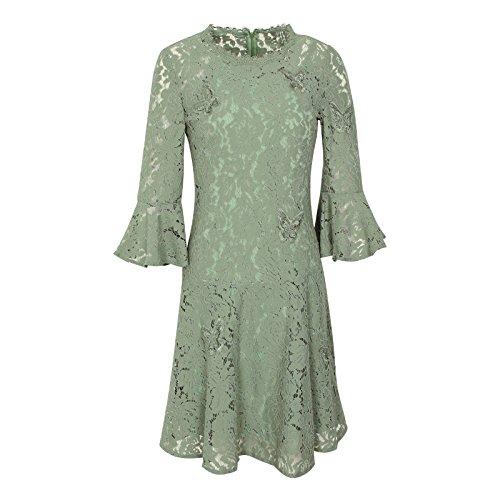 Charakter-jugend-t-shirt (XIU*RONG Spitzenkleid Schmetterlinge Besticktes Kleid Besticktes Kleid Sieben Minuten Ärmel Einen Charakter Rock L Grün)