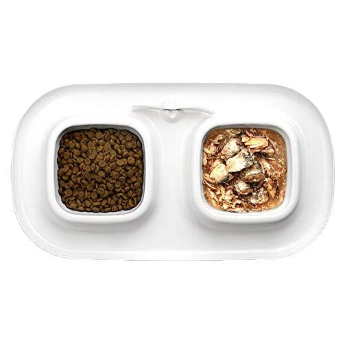 Lqhk ciotole per gatti, cani ciotola gatto plastica con antiscivolo base non spill per acqua e cibo piccoli animali pet feeder,whitedoublebowl