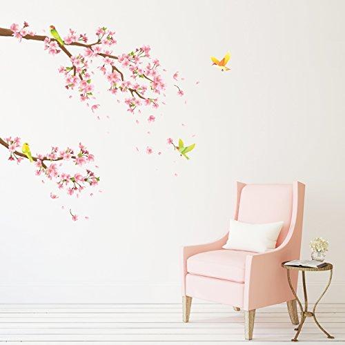 Decowall DW-1303 Kirschblüten mit Vögel Tiere Wandtattoo Wandsticker Wandaufkleber Wanddeko für Wohnzimmer Schlafzimmer Kinderzimmer (Kirschblüten Wandtattoo)