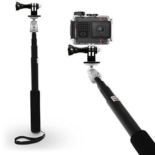 igadgitz Schwarz Erweiterbare Teleskop Hand gehalten Selbstporträt Selfie Stange Stick Einbeinstativ für Garmin Virb Action Cams HD, Ultra 30, X, XE & Handy