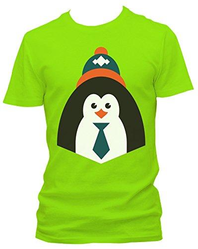 NEON Herren T-Shirt Pinguin mit Mütze FUN_neongrün_XXL