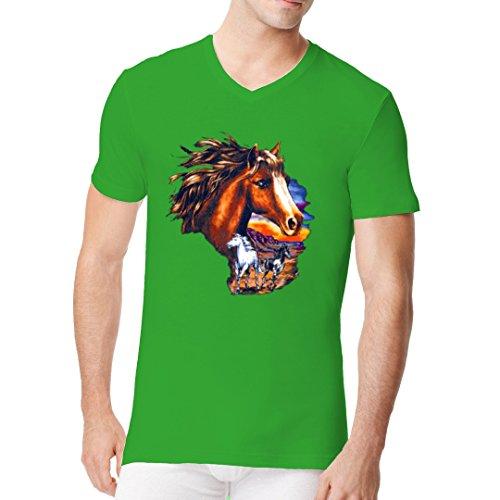 Fun Männer V-Neck Shirt - Pferde bei Sonnenuntergang by Im-Shirt Kelly Green