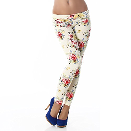PF-Fashion Damen Leggings Leggins Body Slim Hose Karotte Lang Design Tapered Tarnmuster Blumen Batik F9353 Gelb