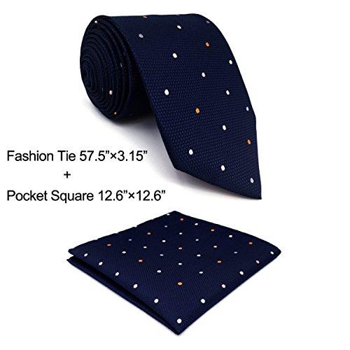 shlax&wing Puntos Azul Navy Corbatas Para Hombre Set Traje de negocios Seda Puntos Extra Largo 57.5' 63'