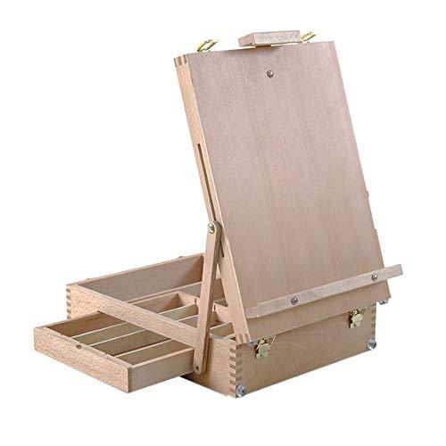Staffelei Kinderzeichnung Schreibtafeln Holz, Tabelle Box Zum Zeichnen, Malen Und Display - Tragbare Desktop-Malerei-Boards Mit Fächern -