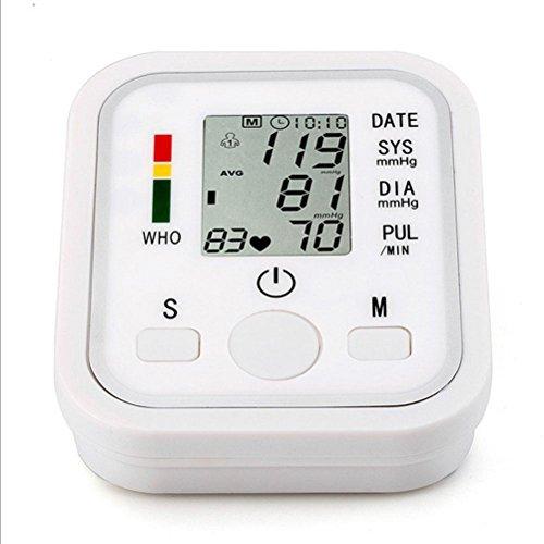 HRRH Automatische elektronische Sphygmomanometer Arm Meter Pulse Handgelenk Blutdruck Monitor Elektronische Arm Intelligente Voice Blutdruck Monitor Digital Sphygmomanometer Weiß -