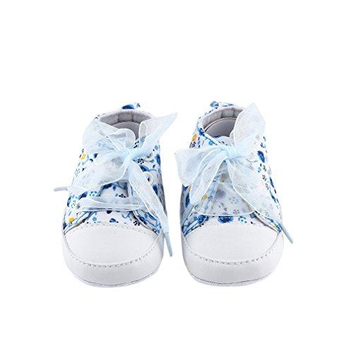 Gugutogo New Born Baby Toddlers Diseño lindo Floral Ribbon Style Zapatos antideslizantes (Color: azul cielo) (Tamaño: 11.5)