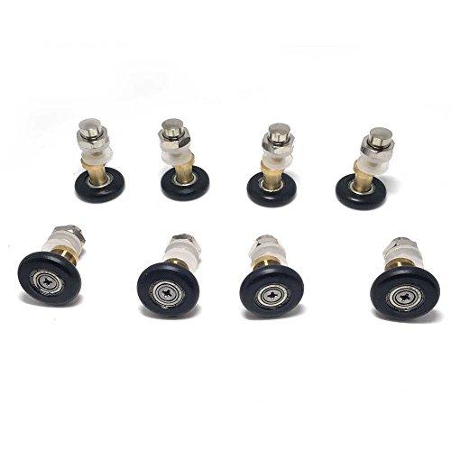 41myQctNecL - Juego de 8 piezas de rodamientos para puerta de ducha/corredores/ruedas/poleas de 27 mm de diámetro de repuesto para baño