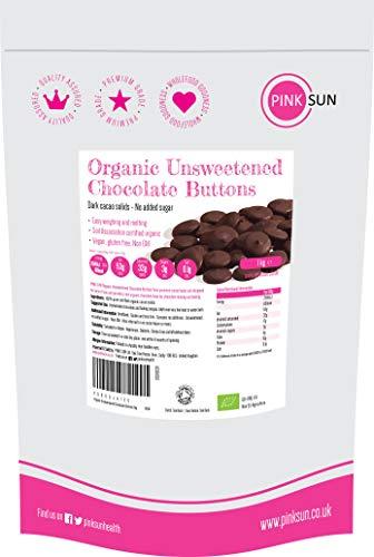 PINK SUN Bio Ungesüßte Schokolade Knöpfe 1 kg (oder 500g) Kakaomasse 100% Kakaofeststoffe Ohne Zucker Dunkel Zuckerfrei Kochschokolade Pastillen Glutenfrei Soja-frei Vegan Unsweetened Chocolate 1000g