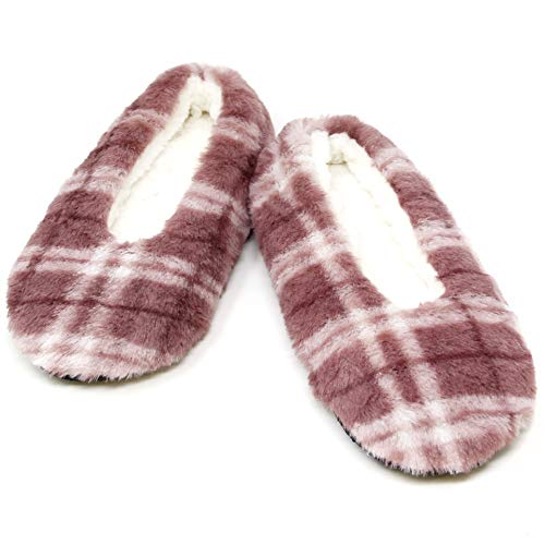 Me Plus Damen Hausschuhe/Hausschuhe aus weichem Fleece mit Gummi, Ballsohlen, Pink (Pink-Plaid), Einheitsgröße -