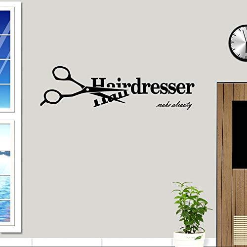 nkfrjz Haarschere Friseursalon Aufkleber Friseur Aufkleber Friseur Poster Vinyl Wandtattoos Dekor Wandbild Friseursalon Aufkleber 17X58 cm