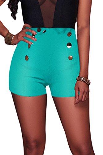 Le Donne Sexy Con I Lacci Elastici Alta Vita Slim Corti Pantaloni Leggings Green2
