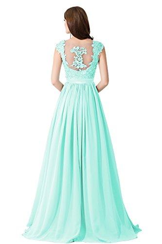 Damen Elegant Spitze Brautjungfernkleid A-Linie Chiffon Abendkleid in 6 Farben Maxilang 32-46 Mintgrün