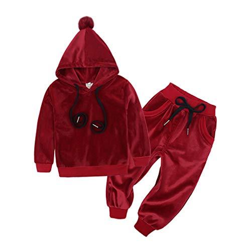 Hibote Baby Samt Mit Kapuze Kleidung Set Kinder Anzug für Mädchen Jungen Sport Anzüge Trainingsanzüge Kleinkind Kinder 80-125cm