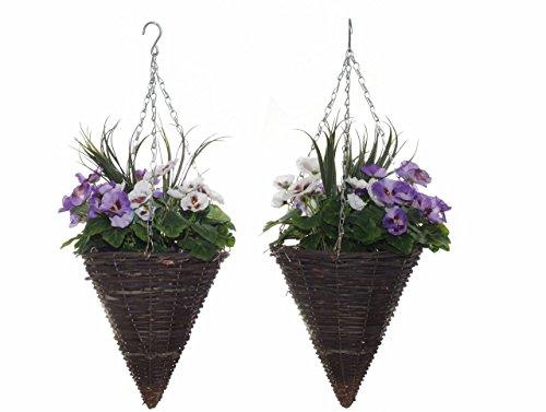 Panier à suspendre ahbc-02 27 x 27 x 30 cm artificielle en forme de cône Panier – Violet/Blanc (Lot de 2)