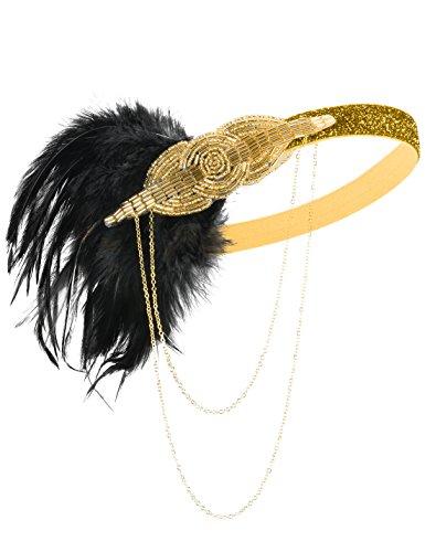 PrettyGuide Damen Retro Stirnband 1920er Gatsby Flapper Perlen Kopfst¨¹ck Accessoire (Stirnband Und Schwarze Gold Flapper)