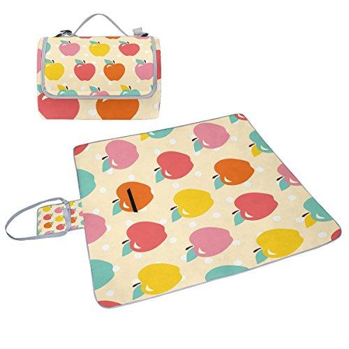 COOSUN Box Muster für Äpfel, Picknick-Decke mit Matte Schimmel resistent und wasserdicht Camping-Matte für rving, Picknickdecke, Strand, Wandern, Reisen und Ausflüge