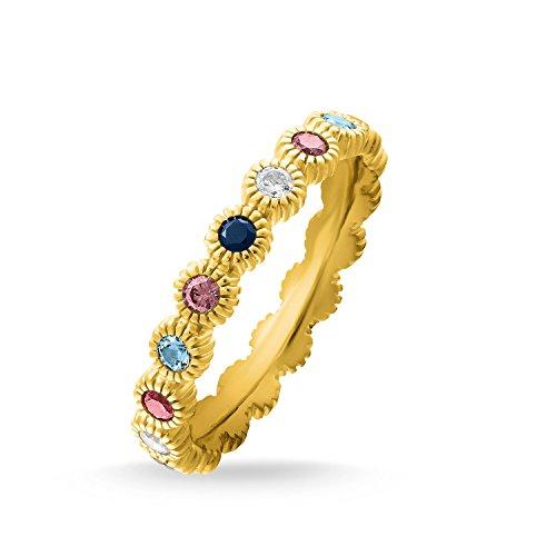 THOMAS SABO Damen Ring Royalty Gold 925er Sterlingsilber; 750er Gelbgold Vergoldung TR2225-959-7